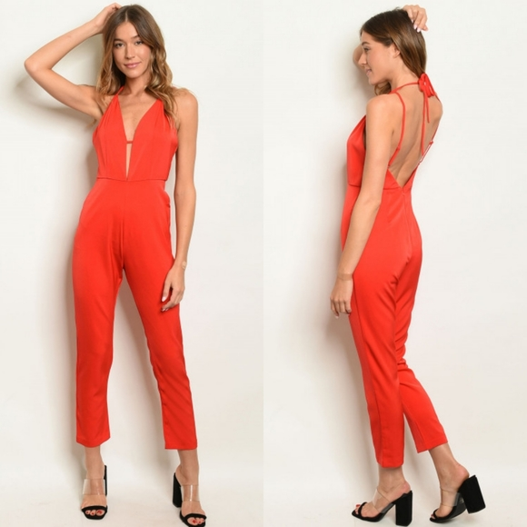 Red Taper Leg Backless Halter Jumpsuit